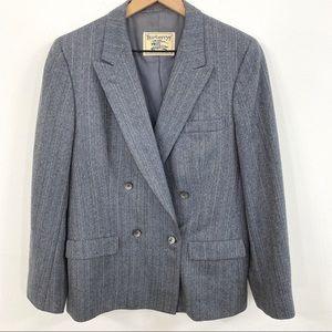 Burberry VTG Blue Grey Tweed Herringbone Blazer
